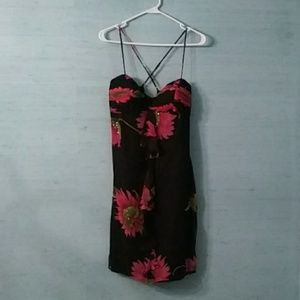 Black floral 100% silk dress